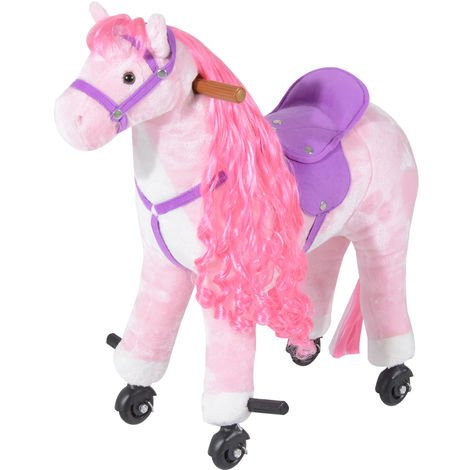 HOMCOM Kids Boys Plush Ride On Walking Horse Toy Wheels Foot Rest w/Neigh Sound (Pink)