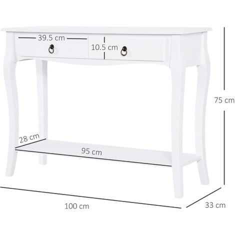 Homcom Mdf Console Table Storage Display Desk Home Office 2 Drawers Modern Eco Friendly Ivory White - Modern White Console Table With Storage