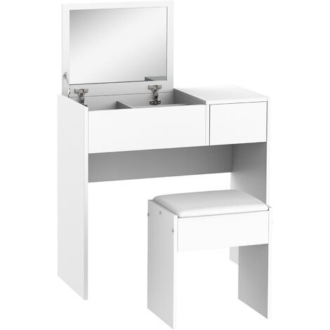 HOMCOM Chipboard Dressing Table Set with Drawer & Flip-up Mirror Multi-purpose Writing Desk 2-in-1 Dresser Eco-friendly - White