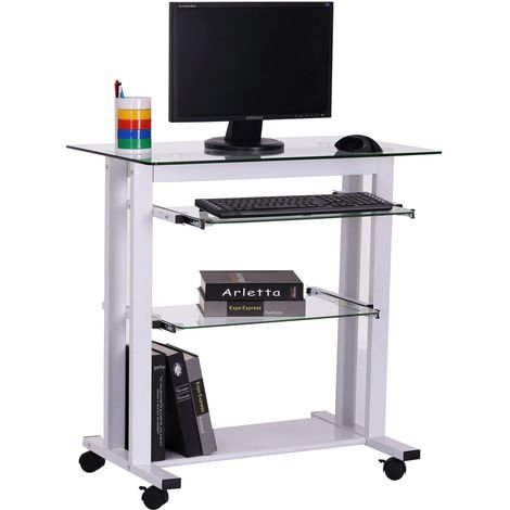 Homcom Computer Workstation Laptop Pc, Computer Desk Wheels