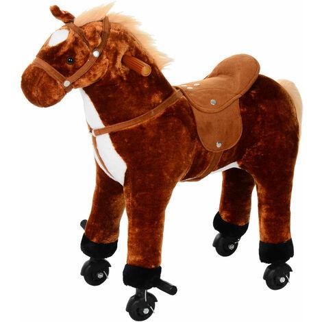 HOMCOM Kids Boys Plush Ride On Walking Horse Toy Wheels Foot Rest w/Neigh Sound (Brown)
