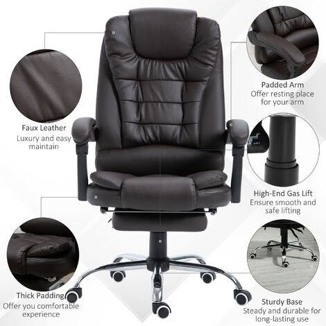 HOMCOM Executive PU Leather High Back Recliner Swivel Office Chair with Retractable Footrest (Brown)