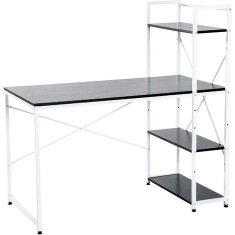 HOMCOM Computer Desk Laptop Table Workstation Home Office 4-tier Bookshelf - Black & White