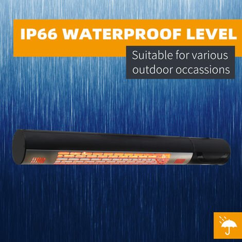 Outsunny Outdoor Patio Warmer 1500W Wall Mounted Electric Infrared Halogen Heater - Black