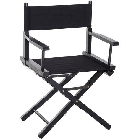 HOMCOM Beech Wooden Folding Director Chair Oxford Fabric Seat for Garden - Black