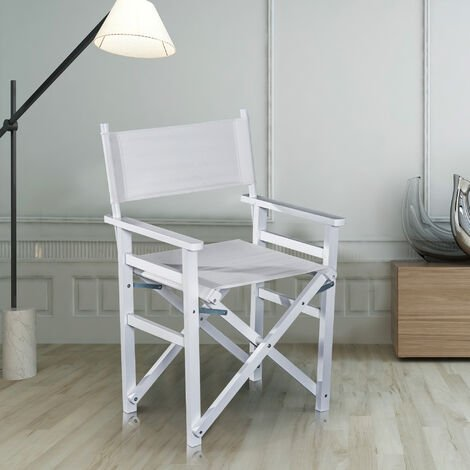 HOMCOM Beech Wooden Frame Directors Folding Chair Space Saving Oxford Fabric Seat White