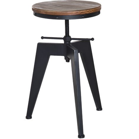 HOMCOM Pine Wood Steel Bar stool Swivel Chair Industrial Kitchen Adjustable Height - Brown