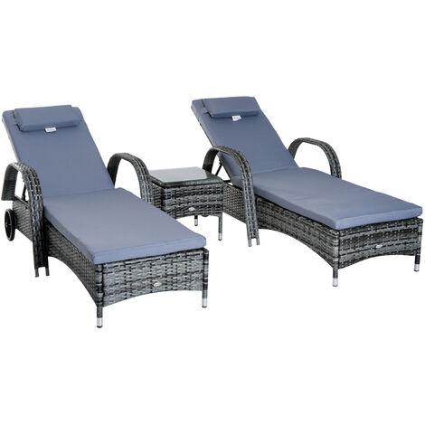 Outsunny Garden Rattan Furniture 3PC Sun Lounger Recliner Bed Chair Set - Grey