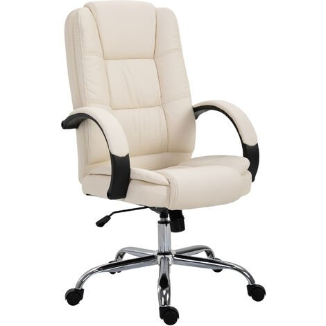 Vinsetto Executive Office Chair Ergonomic High Back Adjustable Computer PU Leather Seat 360° Swivel Beige