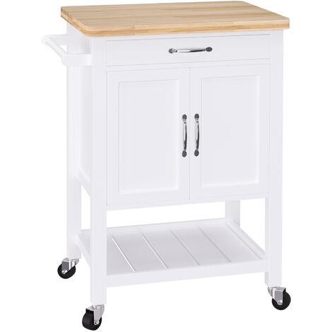 HOMCOM Kitchen Storage Trolley Cart Rolling Wheels Shelves Cupboard Wood W/ Drawer White
