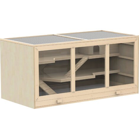 PawHut Wooden Hamster Cage Mouse Rats Hutch Exercise Play House Pen 115L x 60W x 58H(cm)