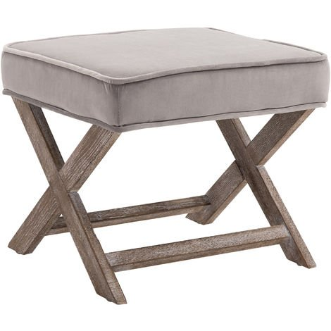 HOMCOM Vintage Footstool Padded Seat X Shape Chair Velvet Cover 49.5L x 45W x 41H(cm) Grey