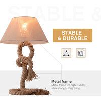 HOMCOM Table Lamp Indispensable Nautical Twisted Rope E27 Base Bedside Light - Beige