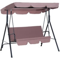Outsunny Steel Garden Patio Swing Chair Hammock Canopy 3 Seater Outdoor Bench - Brown