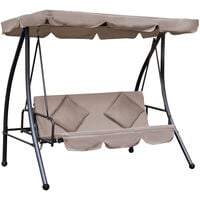 Outsunny Patio Swing Chair 3 Seat Garden Bench 2-in-1 Convertible Lounger Outdoor