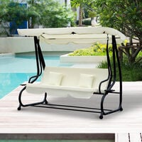 Outsunny 2-in-1 Patio Swing Chair 3 Seater Hammock Canopy Garden Lounger Bench