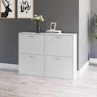 HOMCOM Pull Down Wood Shoes Storage Cabinet Four Draws Shelf Organiser White