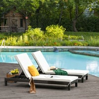 Outsunny Set of 2 Garden Rattan Wicker Sun Lounger Adjustable Outdoor Brown