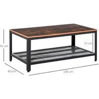 HOMCOM 2-Tier Wooden Coffee Table Retro Style Living Room Bottom Metal Shelf