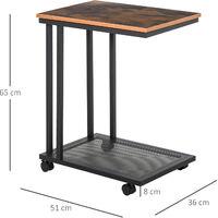 HOMCOM Moving Side Coffee Table C Shape Rolling Castors Wooden Trolly