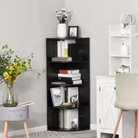 HOMCOM 4 Tier Wood Corner Shelf Freestanding Bookshelf Plants Stand Black