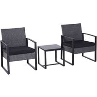 Outsunny 3 Pc Rattan Table Chair Set Outdoor Garden Patio Dining w/ Cushion
