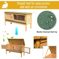 PawHut Wooden Rabbit Hutch Bunny Home Outdoor w/ Hinged Top Small