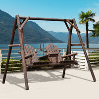 Outsunny 2 Seat Wooden Swing Rustic Patio Bench Outdoor w/ Table Garden Furniture