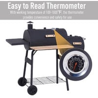 Outsunny Portable Charcoal BBQ Grill Steel Offset Smoker Combo Outdoor Barbecue Garden