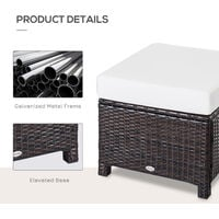 Outsunny Garden Patio Rattan Furniture Outdoor Wicker Ottoman Foot Stool Rest (Cushioned - Brown)