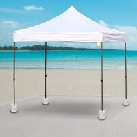 Outsunny 4pc Canopy Tent Weight Rapid Clip Gazebo Feet Fill with Water or Sand White