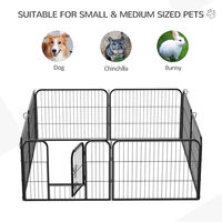 PawHut Heavy Duty Dog Pet Puppy Metal Playpen Play Pen Rabbit Pig Hutch Run Enclosure Foldable Black 80 x 60 cm (Small)