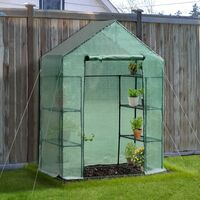 Outsunny Walk-in Greenhouse w/ Shelves Polytunnel Steeple Green - 143L x 73D x 195H (cm)