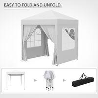 Outsunny 2 x 2m Garden Pop Up Gazebo Party Tent Wedding w/ Carrying Case - White