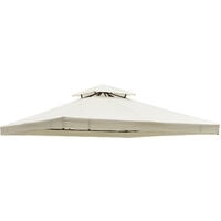 Outsunny 3m x 3m Replacement Gazebo Canopy Roof Top Cover Spare Part - Cream White