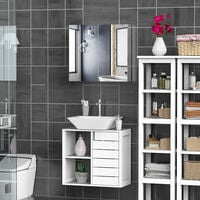 HOMCOM Stainless Steel Wall mounted Bathroom Mirror Cabinet Double Doors 600W (mm)