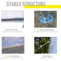 Outsunny Gazebo Marquee Party Tent Wedding Portable Garage Steel Frame Waterproof - 4x4m