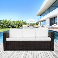 Outsunny 3 Seater Rattan Sofa Wicker Outdoor Furniture Chair - Brown