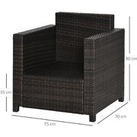 Outsunny Rattan Garden 1 Seater Chair Wicker Weave Single Sofa Armchair Outdoor Chair Fire Retardant Sponge Brown
