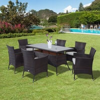 Outsunny Rattan Garden Furniture Dining Set Rectangular Table 6 Cube Chairs - Brown
