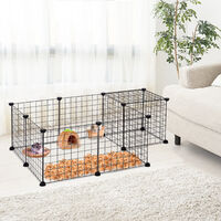 PawHut Pet Playpen Metal Wire Fence 12-Panel Enclosure Small Animals Cage Black
