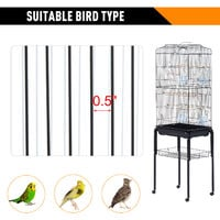 PawHut Large Metal Bird Cage Parrot w/ Removable Stand 4 Wheels Bottom Tray Black