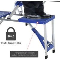 Outsunny Folding Portable Picnic Table Chair Set Camping Hiking BBQ Party - Blue