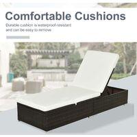 Outsunny Rattan Recliner Lounger Garden Furniture Sun Lounger Recliner Bed Chair Reclining Patio Wicker