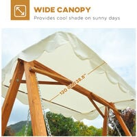 Outsunny 3 Seater Wooden Garden Swing Chair Bench Furniture (Cream)
