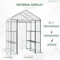 Outsunny Walk-in Greenhouse PVC w/ Shelves Metal Frame 143L x 143W x 195H (cm)