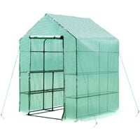 Outsunny Walk-in Greenhouse w/ Shelves & Removable Cover 143L x 143W x 195H (cm)