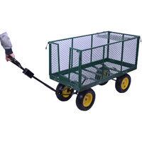 HOMCOM Large 4 Wheels Heavy Duty Garden Cart Trolley Wheelbarrow - Green