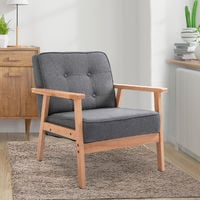 HOMCOM Accent Chair Wood Frame Padded Linen Home Furniture Tufted Cushion Grey
