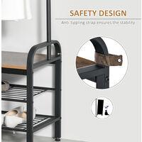 HOMCOM Freestanding Hallway Home Organiser Unit Coats Shoes Bags Retro Metal Frame